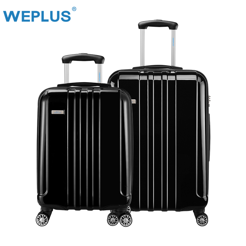 2pcs/set 20 inch 24 inch Rolling Luggage Carry-Ons hardside luggage travel luggages suitcase for women men black PC+ABS  Spinner
