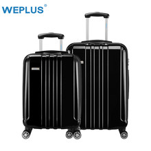 WEPLUS 2PCS/Set Rolling Luggage PC Travel Suitcase With Wheels TAS LOCK Trolley Hardside Case Men 20 24 Inch Free Shipping Black(China)
