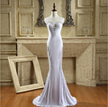 Actual Images Mermaid White Spandex Evening Dress Sweetheart Rhinestones Sexy Formal Evening Gowns Floor Length Party Dresses