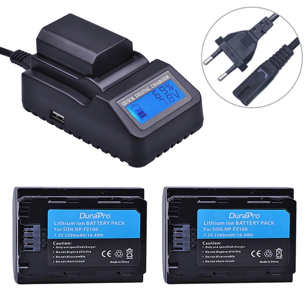 2 pc NP FZ100 Batterie + LCD Chargeur Rapide pour Sony NP-FZ100 BC-QZ1 Alpha 9, A7RIII, ILCE-7RM3 pour Sony A9, A9R, Alpha 9 s Caméra