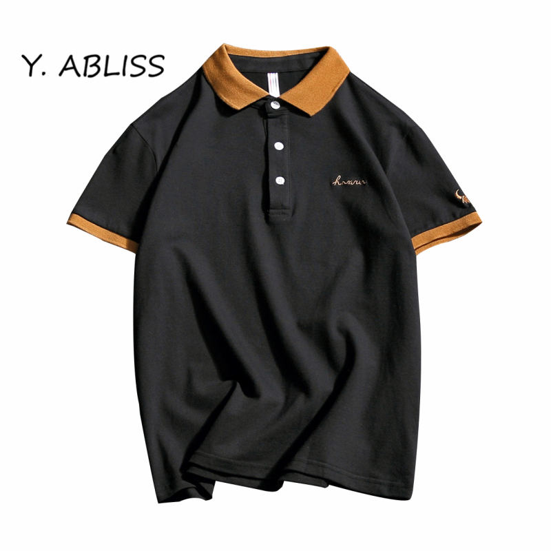 Y ABLISS 2017 New Men Polo Shirt Business Casual Embroidery Contrast Color male polo shirt Short