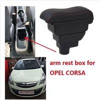 For Opel Corsa Armrest box central Store content Opel Corsa armrest box with cup holder ashtray with USB interface