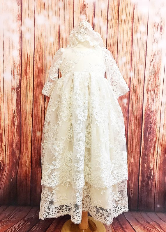 Long Sleeves Two Layered Tulle Lace Baby Girls Christening Gown O Neck Dress Infant Girls Baptism Dress size 3 6 9 15 24month