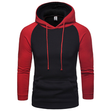 Spring New Men's Hoodies Loose Casual Sports Color Matching Raglan Sleeve Hooded Pullover Sweatshirt Man S-2XL