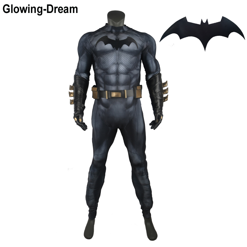 Glowing-Dream High Quality Relif Muscle Padding Batman Suit Embossed Muscle Batman Cosplay Costume With Logo For Men