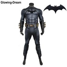 Traje de batman com acolchoamento muscular, fantasia de alta qualidade com logotipo brilhante, sonho e acolchoamento muscular, em relevo, batman, cosplay, para homens