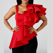 Fashion 2019 Red Ruffles Sexy Blouse Women Shirts Peplum Irregular Slim Party Summer Tops Ladies Elegant Bluas
