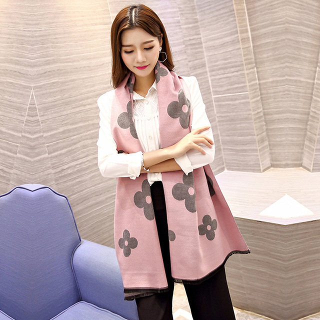 Luxury Brand 2016 Мода Зимы Женщин Кашемира Шарф Цветы Долго двусторонний Шарф Толстый Теплый Платок