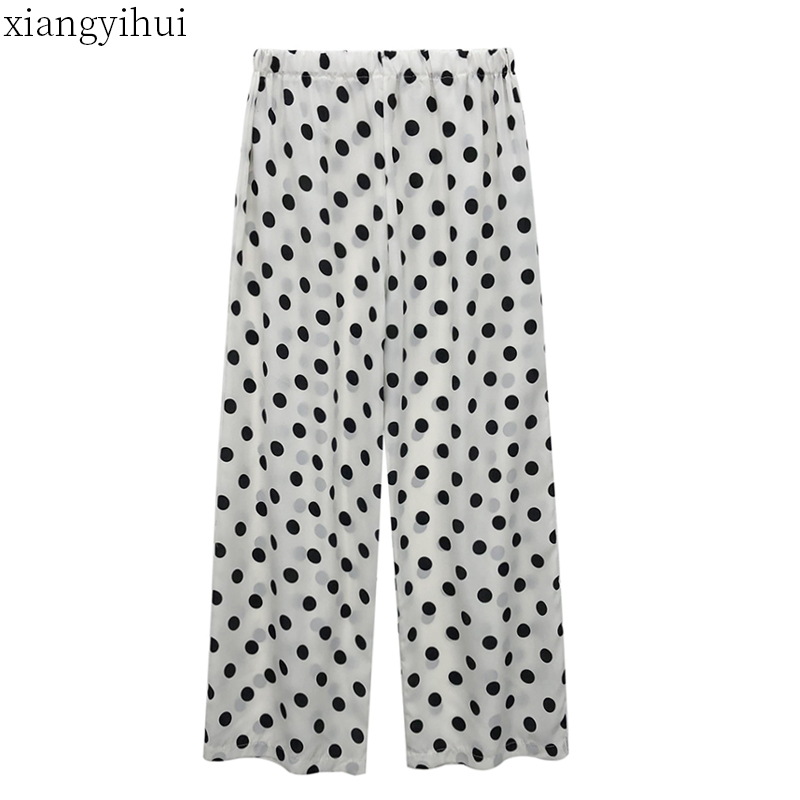 Boho Style Women's Summer Polka Dot Chiffon   Wide     Leg     Pants   New Summer Elastic Waist Loose   Pants   Long Black White Trousers 2019