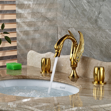 Модный Дизайн Лебедь Форме Двойной Ручки Прилавок Кран для Ванной gold-пластина