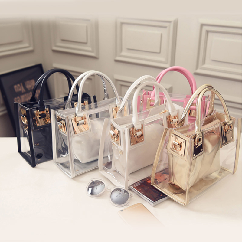 2019 New Luxury Brand Women Transparent Bag Clear PVC Jelly Small Tote Messenger Crossbody Shoulder Bags Female Handbags Party