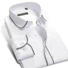 2017 New Males's Lengthy sleeve Slim match Black/White Plaid Edge Informal Costume Shirt 100% Cotton Consolation Tender Stable Shade Formal Shirts