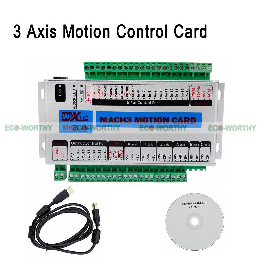 ECO 400KHz 3 Axis Mach3 Motion Control Card USB CNC Interface Breakout Board New 4 axis usb mach3 motion control card four axis breakout interface board for cnc machine