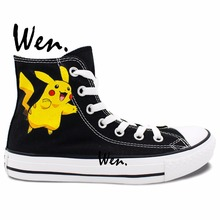 Wen Anime Black Hand Painted Shoes Design Custom Pokemon Pikachu High Top Men Women's Canvas Sneakers Birthday Gifts