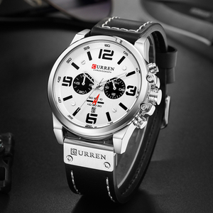 Image 4 - Curren Mens Watches Top Brand Luxury 2019 Waterproof Sport Mens Wrist Watches Chronograph Army Military Leather Men Watch 2018