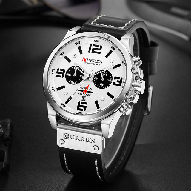 Curren Mens Watches Top Brand Luxury 2019 Waterproof Sport Men's Wrist Watches Chronograph Army Military Leather Men Watch 2018