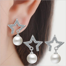Everoyal Shiny Crystal Star Pearl Women Stud Earrings Jewelry Charm Silver 925 For Girl Accessories Lovers Christmas