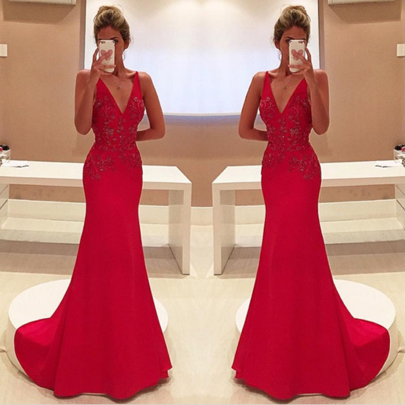 Unique Red Two Straps V-Neck Mermaid Evening   Dress   Sleeveless Satin With Appliques Long   Prom     Dress   2020 Vestidos de noite