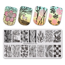 BeautyBigBang Nail Stamping Plates Summer Flower Feather Template Plate Rectangle Stencil Mold For Art BBB XL-015
