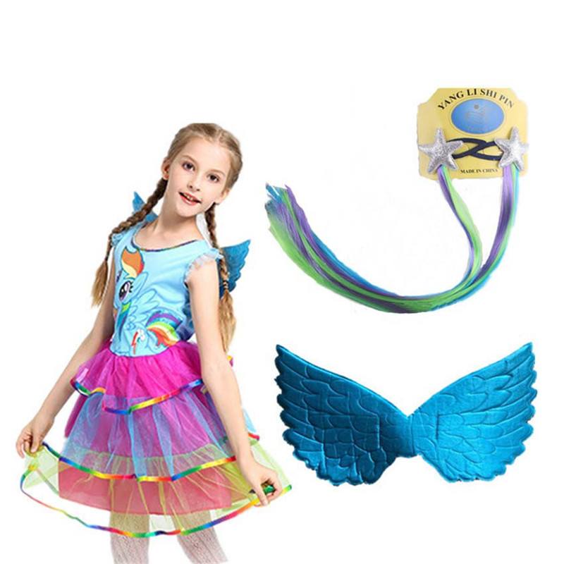 Girl  Rainbow Princess Dress My Girl Little Pony  Party Dress Cosplay Costume  + Pony's Wig +Wing  Girl Clothes Set