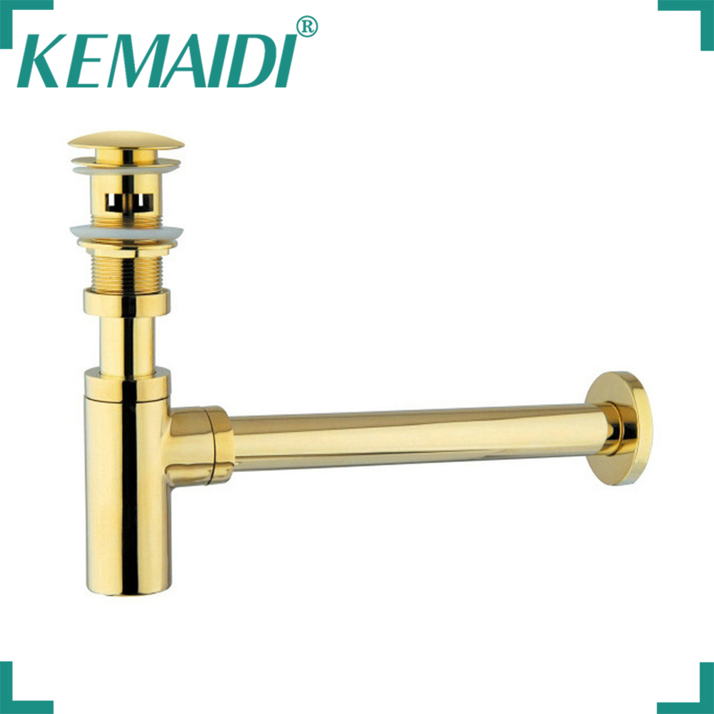 KEMAIDI Golden Siphon Bottle Traps Pop Up Basin Waste Drain Basin Faucet P-Traps Waste Pipe Into The Wall drainage Plumbing Tube