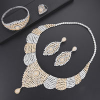 Luxury African Engagement Necklace CZ dubai jewelry sets for women Necklace Earrings fashion jewelry Ring Bracelet Jewelry