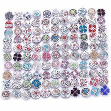 Atacado 10 pçs/lote 18mm snap jóias mix muitos estilos 18mm botões de metal snap strass snaps jóias 0728
