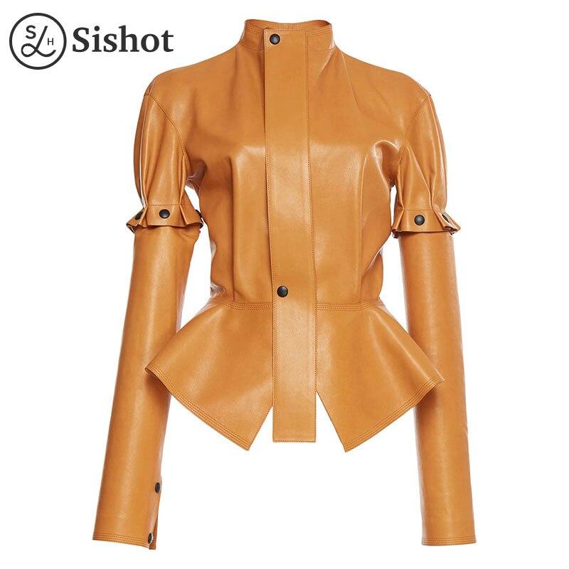 Sishot women casual jackets 2017 autumn winter brown plain pu slim stand collar removable ruffle button