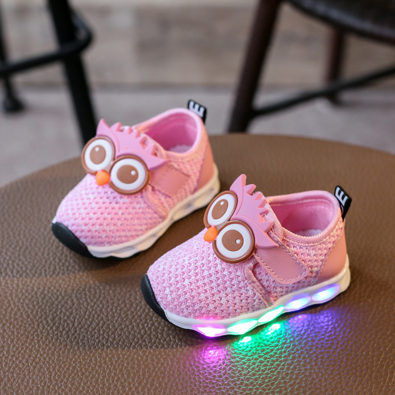 2017 Autumn children glowing shoes owl kids mesh led lignt shoes baby boys sneakers girls luminous sport shoes