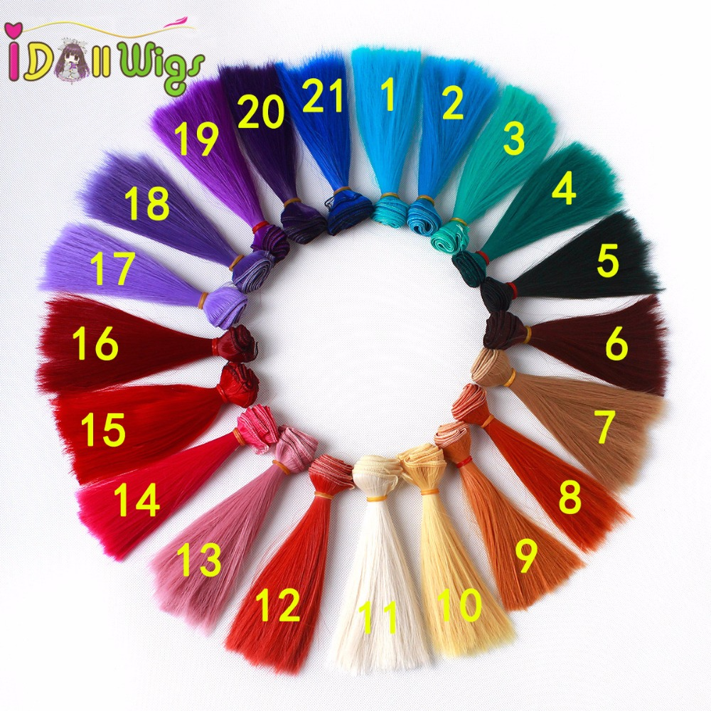 10pcs 15cm High Temperature Wire Red Blue Yellow Green White Khaki Straight Doll Hair Extensions Diy Doll Wigs