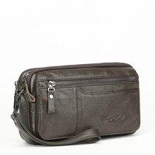 цены Men Wallets Double Zipper Purse Genuine Leather soft Wallet Men Clutch bag Fashion Long Male Clutch Bag With Phone Pocket