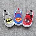 2016 Nova Sapatas de Lona Dos Miúdos meninos Super Homem, Meninos Sapatos de algodão Batman, Calçados Infantis Homem Aranha, Caçoa As Sapatilhas, Sapatas Dos Miúdos, Sapatas do Menino