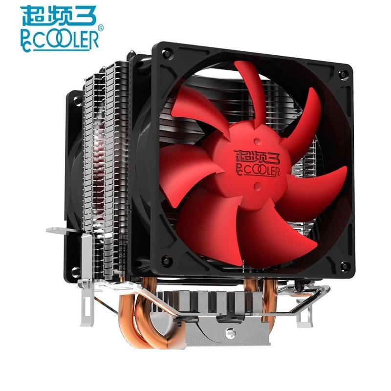 Pccooler Double fan CPU cooler fan pure cooper 2 heatpipe silent cooling radiator fan for LGA1151 775 115x FM2+ FM2 FM1 AM3 pccooler s90 heatpipe cpu cooler heatsink w cooling fan black red silver