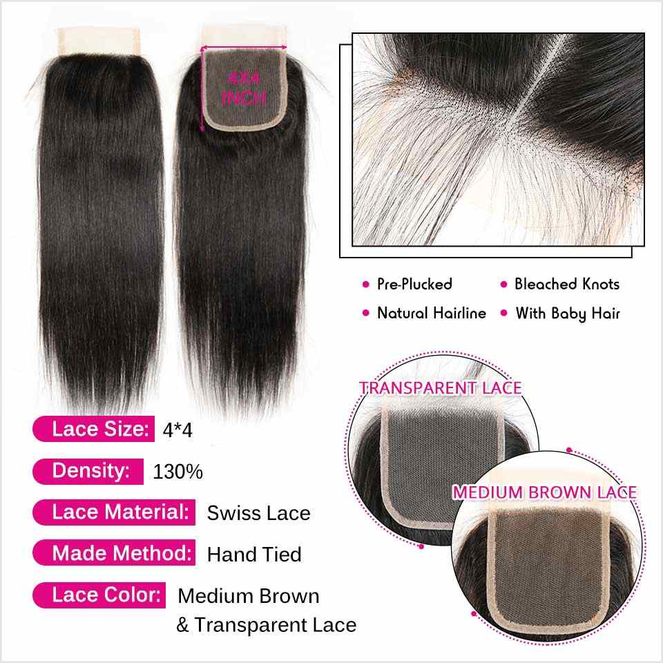 Ali graça cabelo em linha reta 3 pacotes com fechamento do laço 100% remy cabelo filipino com 4*4 livre meio parte fechamento