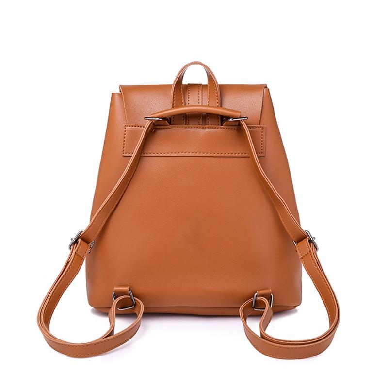Pocket PU Leather Women Backpack Female Retro Designer Schoolbag for Teenagers Girl's Casual Large Travel Bag Laptop Backpack