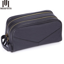 MISFITS crazy horse genuine leather mens cosmetic bag for male large capacity toiletry vintage wash bags travel make up