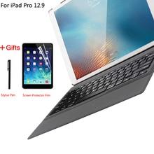 حافظة للوحة المفاتيح لجهاز Apple iPad Pro 12.9 2015 2017 2018 2020 1st 2nd 3rd 4th حافظة فائقة النحافة لوحة مفاتيح بلوتوث Pu حافظة جلدية