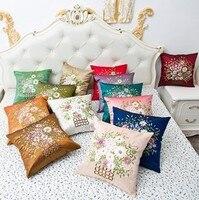 Capas de almofada Carro Cama Flor Floral Hotel Bordado Rosa Azul de Linho de Algodão Home Decor Fronha Capa de Almofada Do Sofá Do Vintage