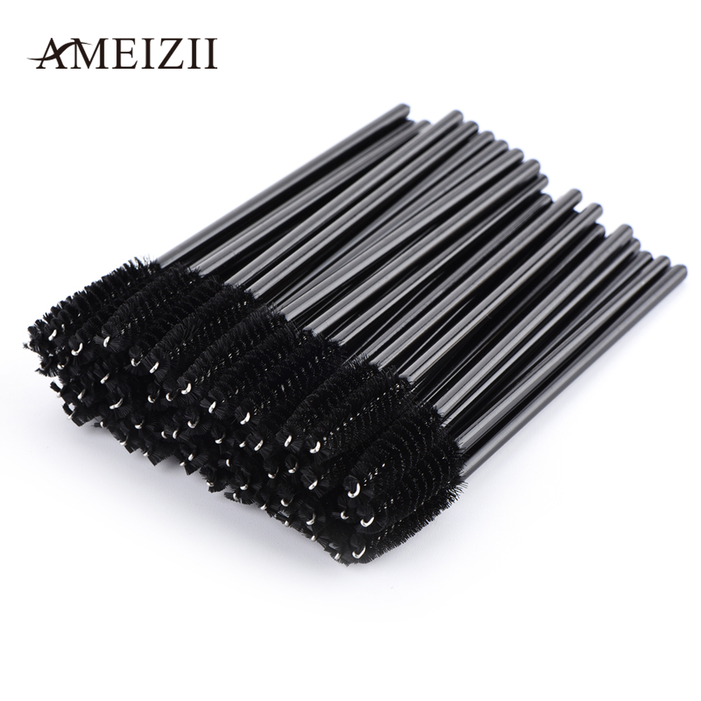 AMEIZII 50Pcs/Pack Makeup Brush Black Rose Red Eyelash Extension Disposable Micro Eyelash Mascara Wand Cosmetic Tool For Women