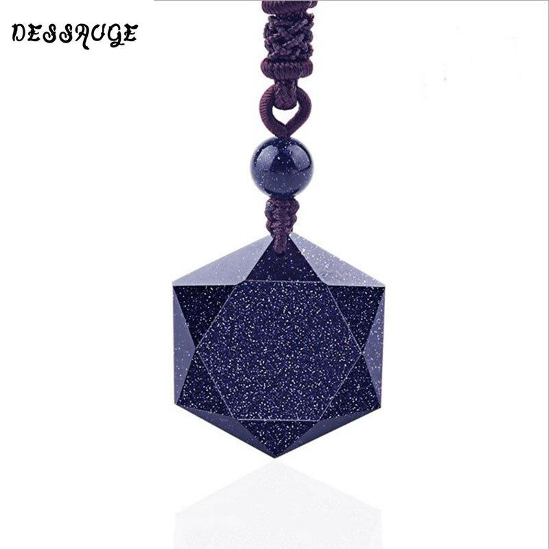 DESSAUGE Blue Sand Stone Pendants Necklace Star Of David Pendant Energy Stone Pe