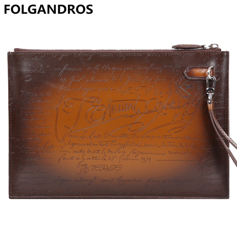 2018 Luxury Handbags for Men Genuine Leather Love Leather Day Clutches with Engraving Handmade Large Capacity Vintage Handbag