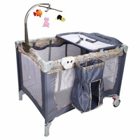 Goplus Foldable Baby Crib Playpen Playard Pack Travel Infant Bassinet Bed Music Gray Portable Mosquito Nets
