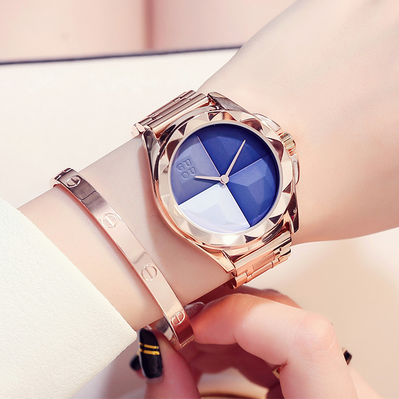 2018 Guou Luxury Brand Fashion Rose Gold Steel Simple Girl Bracelet Watch Women Band Quartz-watch Ladies Wristwatch Reloj Mujer guou watch women luxury rose gold ladies watch auto date full steel quartz watch wristwatch fashion reloj mujer relogio feminino