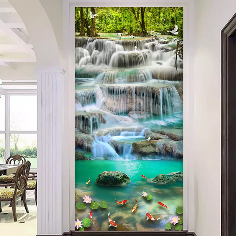Flowing Water Waterfall  Lotus Entrance 3D Mural Wallpaper Living Room Bedroom Hallway Children Room Photo 3D Wall Paper Roll