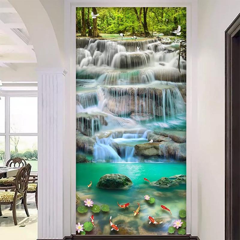 Flowing Water Waterfall  Lotus Entrance 3D Mural Wallpaper Living Room Bedroom Hallway Children Room Photo 3D Wall Paper Roll