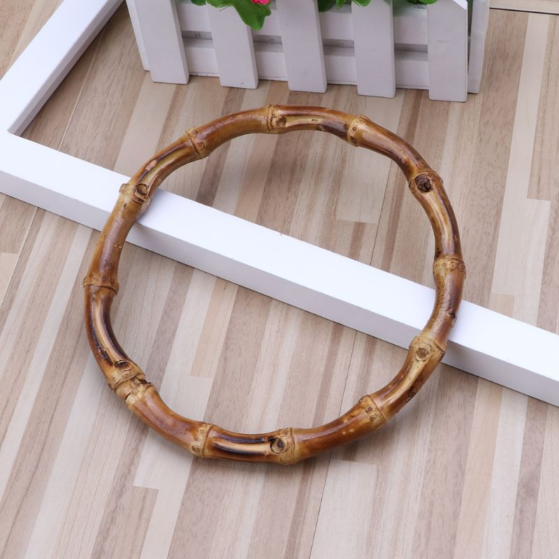 1 X Round Bamboo Bag Handle For Handcrafted Handbag DIY Bags Accessories Good Quality 13x13cm