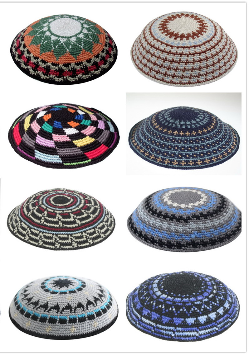 HIGH QUALITY HANDMADE KNITTED YARMULKE KIPPAH MIXED COLOURS MOQ ...