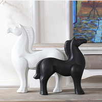Scandinavian Style Black and White Ceramic Horse decoration figurines home lving room bedroom office creative porcelain ornament