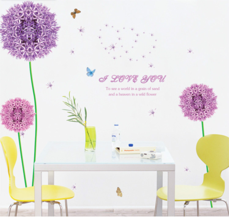 butterfly dandelion flower kids bedroom home decor large vinyl