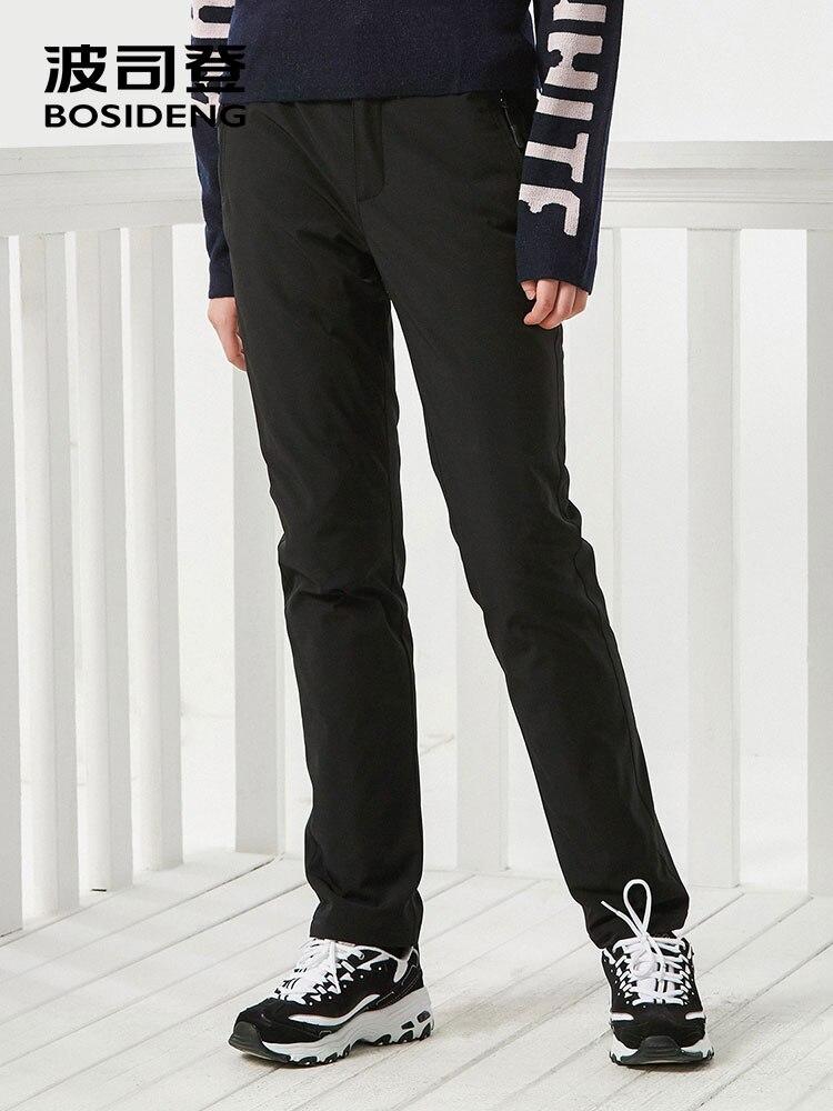 BOSIDENG mujer cómodo casual tobillo longitud Pantalones rectos alta calidad abajo pantalones cálidos y a la moda en invierno frío b70141048-in Pantalones y pantalones pirata from Ropa de mujer    1